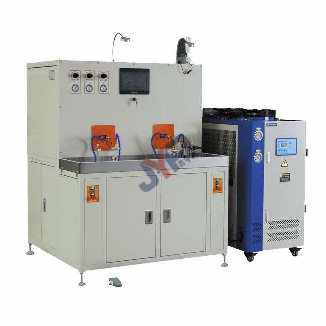 Induction heating double station distributor welding machine